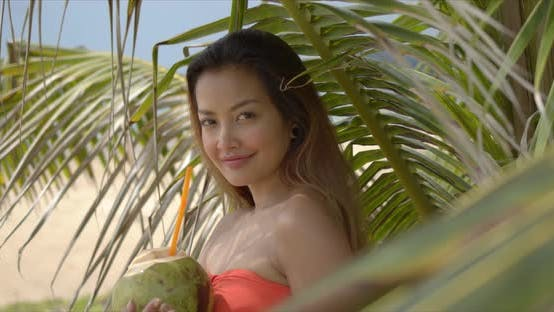 Positive ethnische Frau nahe Palme