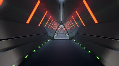 Metall Tunnel Neon Future Tech 3D Minimale Bewegung Design