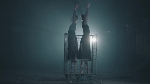 Thumbnail for Two Slim Professional Ballerinas Dancing in Black Dress in the Studio Standing in Big Blue Cage