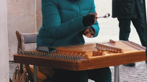 Thumbnail for Street Musician Plays a Musical Instrument - Folk Cimbalom