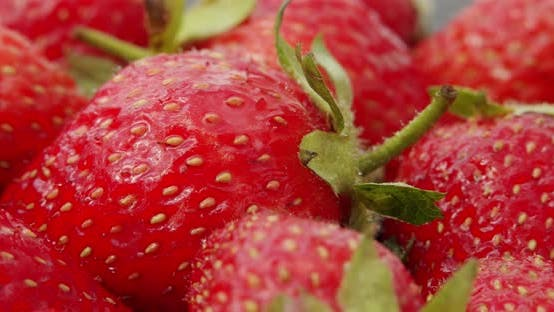 Thumbnail for Fresh Strawberries, Rotating Slowly. Macro Close Up. Rotate