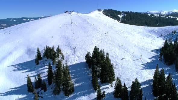 Ski Lift at Ski Resort in Sunny Carpatian Mountains