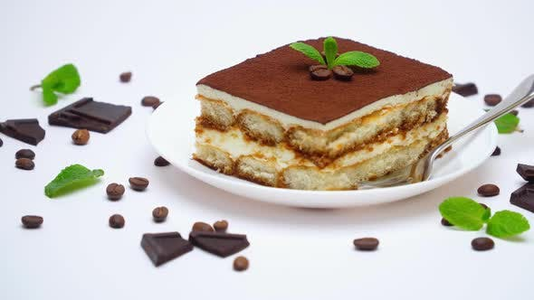 Thumbnail for Tiramisu Dessert Portion, Pieces of Chocolate Bar and Coffee Beans Isolated on White