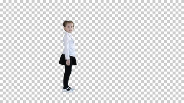 Thumbnail for Beautiful Little Girl in Dress Walking By, Alpha Channel