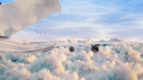 Airplane Jumbo Jet Fyling Over Puffy Clouds Sunlight And Blue Sky Seamless Loop