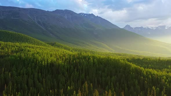 Thumbnail for Aerial Drone Footage View: Flight Over Autumn Mountains with Forests, Meadows and Hills in Sunset
