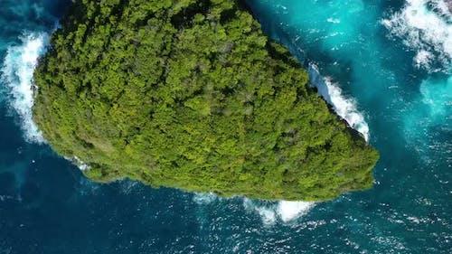 Kelingking beach, Nusa Penida, Bali, Indonesia. Aerial view at sea and rocks