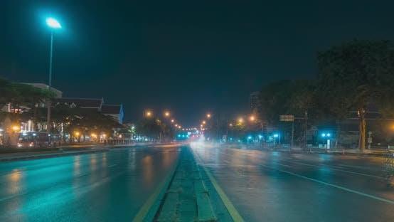 Thumbnail for Hyperlapse of Night City Traffic on Street Intersection