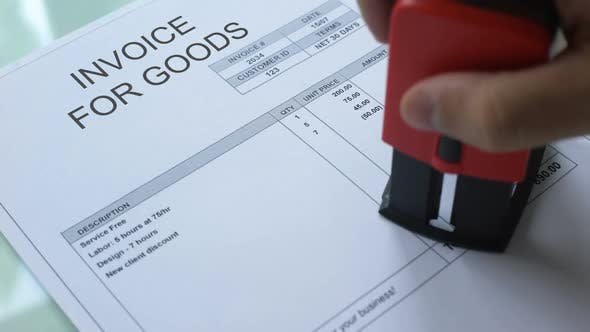 Thumbnail for Invoice for Goods Past Due, Hand Stamping Seal on Commercial Document, Business