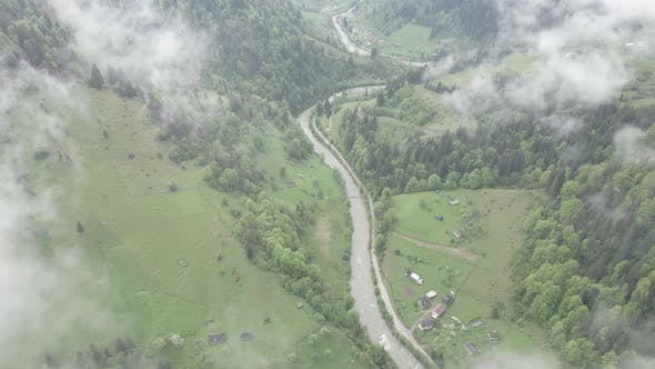 Thumbnail for River in the Mountains. Slow Motion. Carpathians. Ukraine. Aerial. Gray, Flat