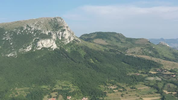 Top of the mountain Stol in Eastern Serbia 4K aerial video