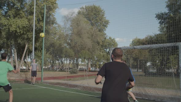 Thumbnail for Footballer Heading Ball To Score Goal on Pitch