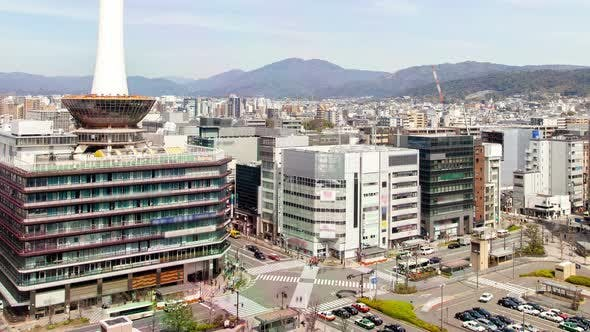 Kyoto Cityscape with Highrise TV Tower Timelapse