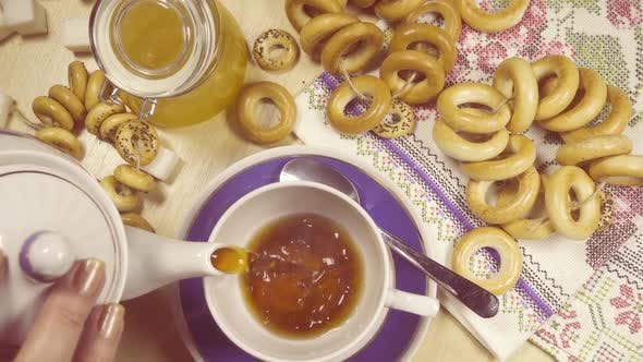 Slow Motion Traditional Russian Tea Party Top View