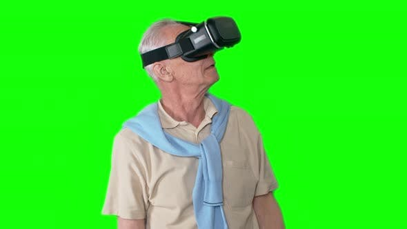 Thumbnail for Amazed Old Man in VR Headset