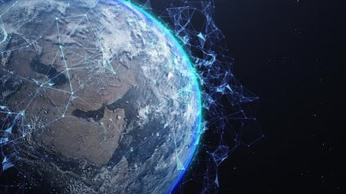 An Abstract Networking Concept. Global Digital Connections. Elements of This Image Furnished By NASA