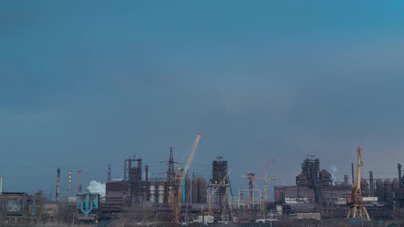 Thumbnail for Timelapse . Smoking Factory Chimneys. Environmental Problem of Pollution of Environment and Air in