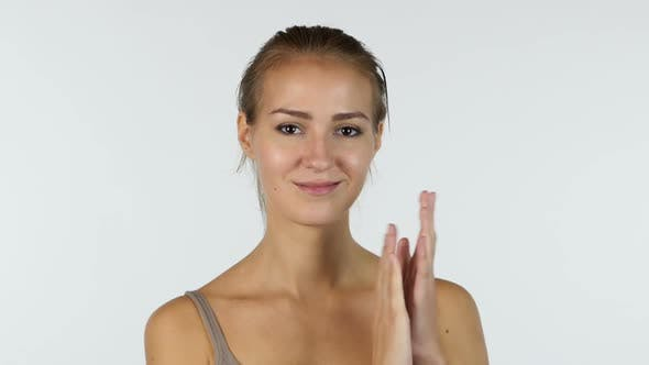 Cover Image for Clapping, Applause by Beautiful Girl, White Background
