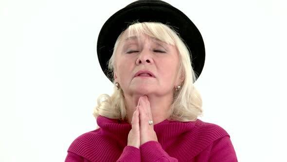 Old Lady Praying Isolated