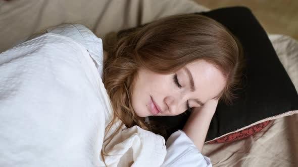Young Girl Sleeping. Peaceful Sleep.