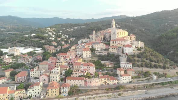 Thumbnail for Aerial: flying around Cervo medieval town on the mediterranean coast, Liguria riviera, Italy