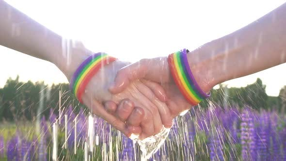 Two Girls Holding Hands at Sunset Sun LGBT Symbol Rain