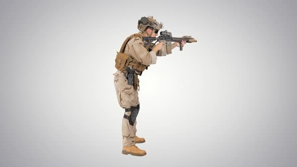 Soldier Aiming and Shooting Automatic Rifle on Gradient Background