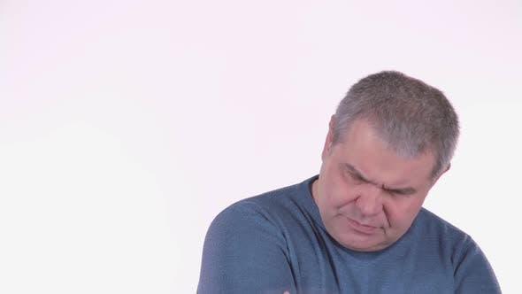 Thumbnail for Headache Torments Middle Aged Man. White Background . Close Up