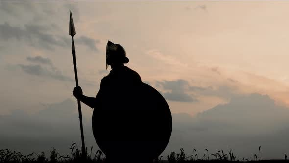 Silhouette of Man in Armour Posing with Spear in Field