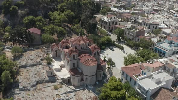 Thumbnail for Aerial View of Beautiful Church in Athens, Greek at Daylight