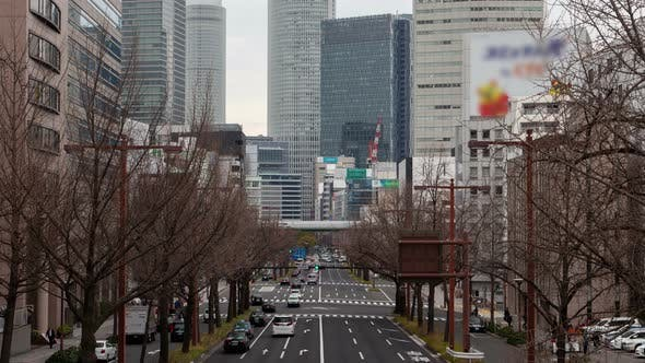 Thumbnail for Nagoya Downtown Urban Traffic Car Motion Timelapse