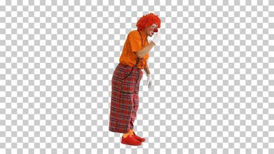 Actor dressed as a clown looking for a, Alpha Channel