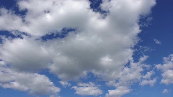 Thumbnail for White Fluffy Clouds in the Blue Sky, Timelapse. Clean Atmosphere and Environmental Protection