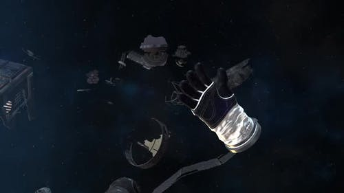 Astronaut Glove and Debris Floating in Space
