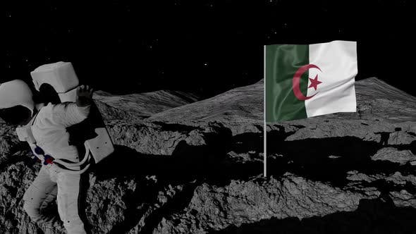 Thumbnail for Algeria Flag on Moons Surface With Floating Astronaut
