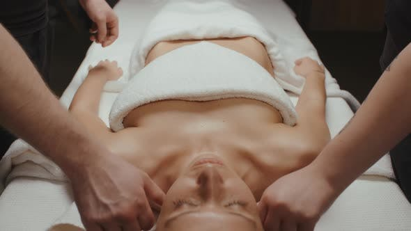 Thumbnail for Slim Brunette Woman Receiving Health Shoulder and Body Rejuvenating Massage Procedure in Spa Center