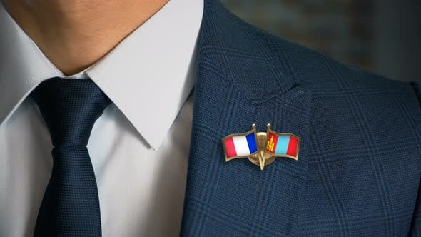 Businessman Friend Flags Pin France Mongolia