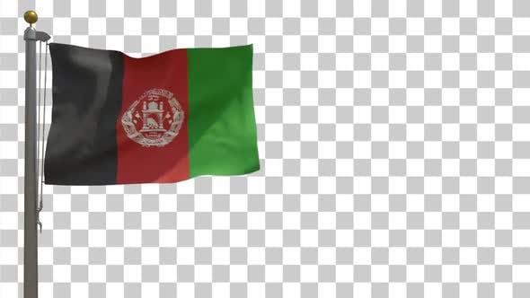 Afghanistan Flag on Flagpole with Alpha Channel - 4K