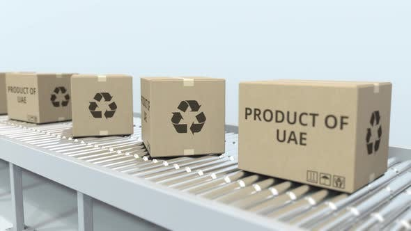 Thumbnail for Boxes with PRODUCT OF UAE Text on Conveyor