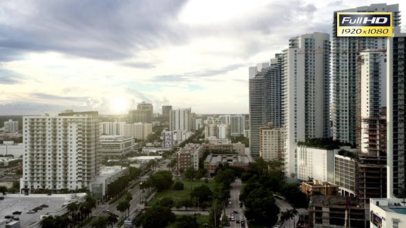 Thumbnail for Sunset Miami Downtown Office Buildings Panorama.