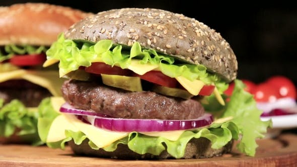 Thumbnail for Burgers On The Black Bun And Bun With Sesame Seeds