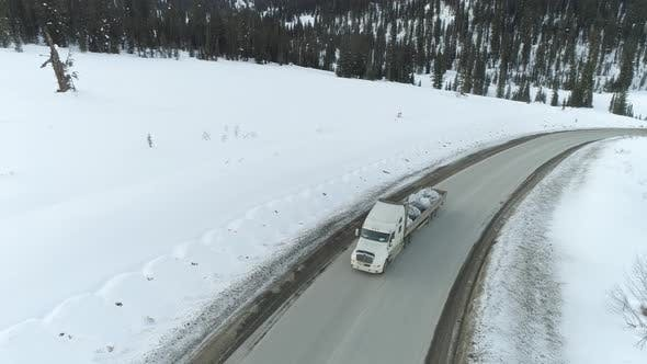 Thumbnail for Aerial View on Track on Winter Road