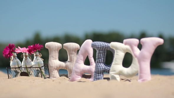 Thumbnail for Word Happy Fabric Padded Letters On The Sand