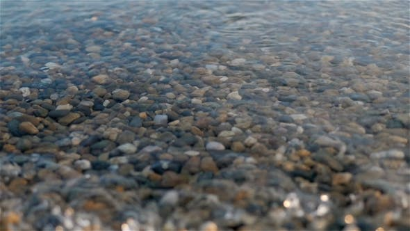 Thumbnail for Sea Braking Against Stones And Pebbles On a Beach, Waves Of Pure Water