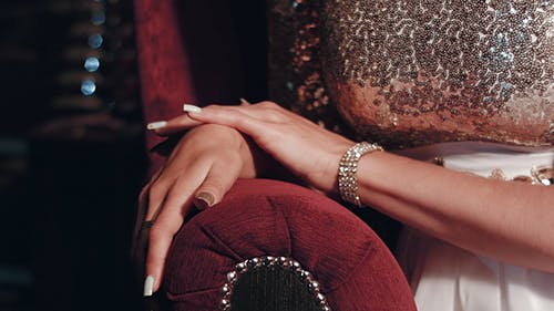 Elegant Woman Caress Hands