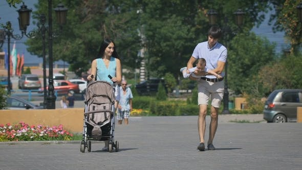 Thumbnail for Happy Family Walks On Summer City.