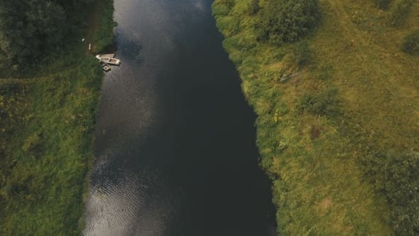 Thumbnail for Flying Over The river.Aerial Video.