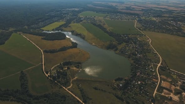 Thumbnail for Aerial View.Landscape Of The Field, Lake.