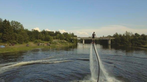 Hover Board rider.Fly Board rider.Aerial Video.