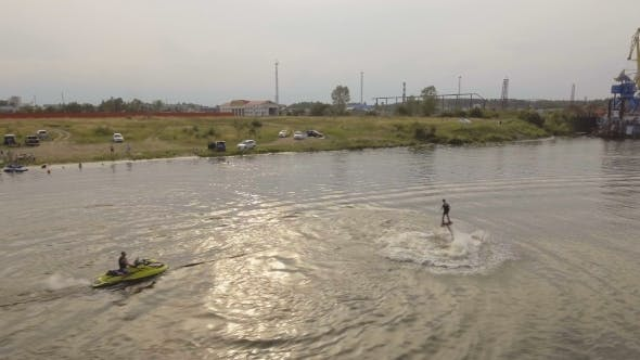 Thumbnail for Fly Board Rider On The river.Aerial Video.